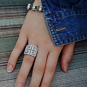 Crystal Greek Key Ring